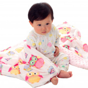 Soft Minky Baby Blanket for Girls With Double Layer Dotted Backing, Lovely Pink Owls Printed 80cm x 100cm