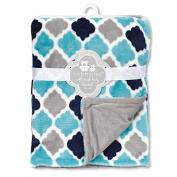 Regent Baby Printed Flannel Blanket, Teal/Navy