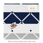 Navy Blue, Grey and White Fabric Memory/Memo Photo Bulletin Board for Stripe Collection