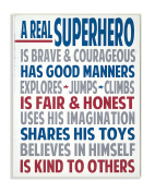 The Kids Room by Stupell Typography Art Wall Plaque, A Real Superhero