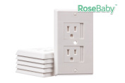 Child Safety Self Closing Electrical Outlet Cover Guards Kit, 6 Pack + 24 Plug Protectors, Baby Proof Home & Kitchen Universal Switch Plates by Rosebaby