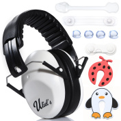 Kids Ear Muffs Hearing Protection W/BONUS childproofing Kit- Child Noise Cancelling Headphones, Foldable Design, Adjustable for Baby and Toddler, Safer than Ear Plugs