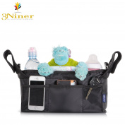 3Niner Stroller Organiser Accessories Bag for smart moms, Universal Fit, Free Gift Removable Shoulder Strap. Lightweight Design. Extra Storage for Baby stuff. Two Deep Insulated Cup Holders. Black