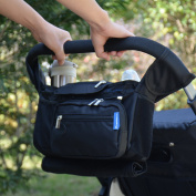 Stroller Organiser Bag for Baby Strollers - 2 Deep Non-spill Baby Bottle Holders - Collapsible Mesh Bag - Adjustable Straps - Water Resistant Baby Bag