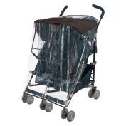 Comfy Baby! Rain-cover Special Designed for the Maclaren Double Stroller, Comes with Clear See-Thru Windows with Extra Sun Shade, Plus Protection Net When Window is Open
