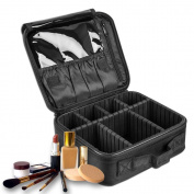 Fashion Multifunctional Simple Portable Travel Waterproof Cosmetic Bag Large Capacity Makeup Case Organiser Kit for Toiletries Makeup Sets With Adjustable Dividers 9.8 7.8 3.9 black