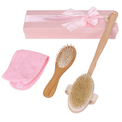 Queentools Shower Spa Set Includes Body Brush, Wooden Comb, and Makeup Headband