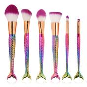 Luismia 6Pcs Fantasy Mermaid Tail MakeUp Brushes Set Foundation Powder Eyeshadow Blending Brush Kits Cosmetic Tools