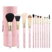 Zoreya makeup brush set 12 pieces essential makeup tools portable makeup brush case travel