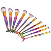 Makeup Brush Set 10pcs Mermaid Makeup Brush Set