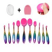MYSWEETY 10pcs Makeup Brushes Set Professional Oval Rainbow Makeup Brushes Soft Toothbrush Beauty Brush Blending Foundation Brushes Powder Blush Brow Cosmetic Brush Set