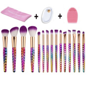 MYSWEETY 15pcs Makeup Brushes Set Professional Colourful Make up Foundation Eyebrow Eyeliner Blush Cosmetic Concealer Brushes + silicone makeup beauty sponge