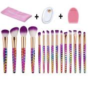 MYSWEETY 15pcs Makeup Brushes Set Professional Colourful Make up Foundation Eyebrow Eyeliner Blush Cosmetic Concealer Brushes + silicone makeup beauty sponge