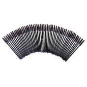 FlyItem 100 Pcs Black Disposable Eyelash Brushes Mascara Wands Applicator Eye Extension Lash Facial Brush Cosmetic Makeup Tool Kits …