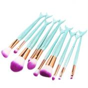 Coshine 10pcs/set Blue Unique Mermaid Nylon Hair Makeup Brush Set Cosmetic Tools Kits
