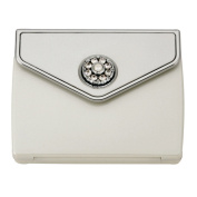 Pearl and Crystal Envelope Compact Mirror - Pearl