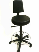 V-709 Hi-Rider Salon, Tattoo, Spa, Barber, Makeup Stool in BLACK + Free