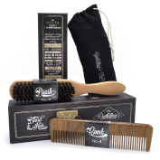 Hair & Beard Comb + Brush - SET - for Men, Sandal Wood COMB, 100% Natural Boar Bristle BRUSH, Best for Grooming Facial and Head Hair, use with Balm, Oil and Wax, Packaged in Premium Giftbox