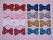 YYCRAFT Pack Of 160pcs Cute Sparkly Glitter Bow 1.9cm Applique/doll/craft-8 Colours