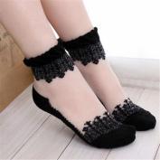 Meolin Lace Ruffle Ankle Socks Ultrathin Sheer Silk Cotton Elastic Socks