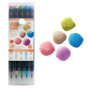 Akashiya Fude Brush Pen Sai, 5 Colour Set Omomuki Colours Set