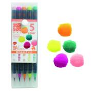 Akashiya Fude Brush Pen Sai, 5 Colour Set Tsaya Colours Set