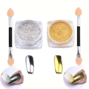 Qingsun 2pcs/set Mirror Nail Powder Chrome Nail Pigment Shining Metallic Nails