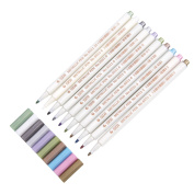 Round Metallic White Markers Pens- Gold Paint Permanent Marker Pen For Kids,Adults Including 10 Colours,1 Round Tips,1mm Line Width,1 Plastic Box