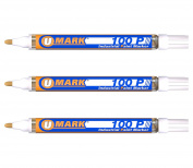 3 Pack - White Valve Action Metal Paint Marker U-Mark, Made In USA