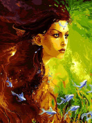 Dorara DIY Oil Painting Paint By Number Hand Paintworks 16×50cm Goddess girl