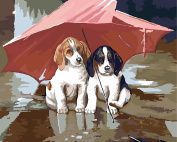 Dorara DIY Oil Painting Paint By Number Hand Paintworks 16×50cm Puppy