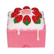 Rcool Creative Cute Stress Reliever Squishy Squeeze Jumbo Strawberry Cake Super Slow Rising Fun Soft Toy Cellphone Key Chain Charm Pendant Strap Kid Gift
