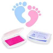 Lil' Jumbl Baby Hand & Foot Memory Ink Stamp Keepsake Pad set of Blue - Pink