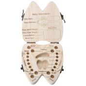 Mogoko Tooth Box Wooden Baby Save Milk Teeth Lanugo Hair Wood Storage Box,Cute Wood Baby Teeth Storage Box Delicious Souvenir Teeth Saver Box for Kids Boy & Girl