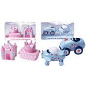 First Tooth and Curl Keepsake Bundle - One Girl Castle Tooth Holder & Crown Curl Holder Set and One Boy Race Car Tooth Holder & Aeroplane Curl Holder Set