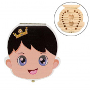 TONSEE Baby Kids Teeth Wood Storage Box Milk Teeth Organiser Holder Boy Girl Design