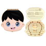 Saflyse Colour Baby Wooden Teeth Box Souvenir Box Case Storage Teeth Organiser for Boy,Girl
