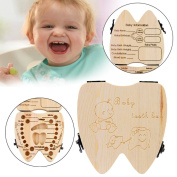 Elevin(TM)Kid Baby Boy Girl Milk Teeth Wood Storage Tooth Keepsake Box Holder Organiser Lanugo Collecting Teeth Gift