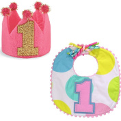 First Birthday Baby Girl Bundle | Mud Pie First Birthday Bib and Felt Crown Set | Perfect Party Bundle for One Year Old | Bundle of 2 items