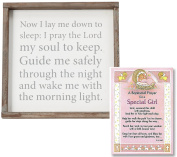 Baptism Gifts for Girl | Good Night Prayer Wall Art From Mud Pie and Baptism Prayer Card | Christening Gift for Girls from Godmother or Grandparents | Bundle of 2 items