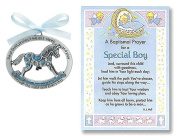Baptism Crib Medal Christening Gifts for Boy | Cathedral Arts Rocking Horse Crib Medal and Christening Prayer Card | Christening Gift for Boy, Bundle of 2 Items