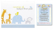 Baptism First Year Memory Book Christening Gifts for Boy | Carters First Year Calendar with Stickers and Christening Prayer Card | Christening Gift for Boy, Bundle of 2 Items