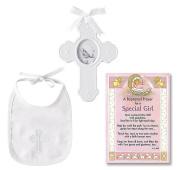 Baptism Gift for Girl | Cross and Bib Set From Mud Pie and a Baptism Prayer Card | Christening Gift for Girls from Godmother