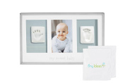 Tiny Ideas Baby's Prints Photo Frame with Included Impression Kit, Deluxe Keepsake Handprint and Footprint, Silver