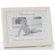 Lovely Ivory & Silver 15cm x 10cm Christening Photo Frame by Haysom Interiors