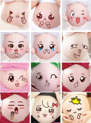 OLizee Cute Facial Expressions Women Pregnancy Belly Stickers Maternity Photography Props