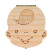 NOMENI Tooth Box Organiser for Baby Milk Teeth Save Wood Storage Box for Kids Boy & Girl
