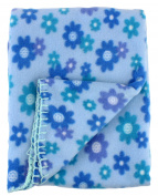 Soft Fleece Receiving Baby Blanket 80cm x 80cm by bogo Brands Blue Flower Print