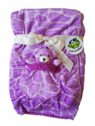 Adorable Purple 2 Ply Baby Borrego Blanket, Cute 3D Bear in a Pocket