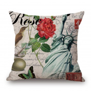 Vovotrade Home Decor Ornate Sofa Waist Throw Cushion Cover Pillow Case Independence Day American Flag Patriotic Design July 4th 45cmx45cm